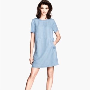 H&M Short Sleeve Mini Denim Dress